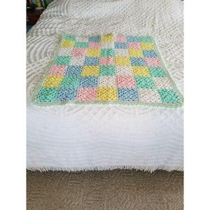 Handmade Baby Afghan Crocheted Granny Squares